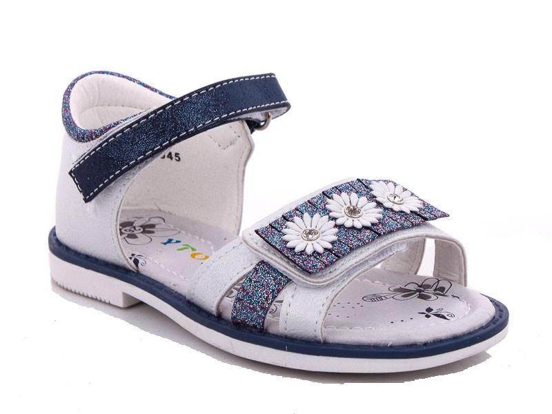 Босоножки для девочки Ромашки бело-синий цвет размеры 26-31 Киев