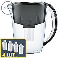 Фильтр-кувшин с 4 шт. картриджей для очистки воды, Аквафор ИДЕАЛ Цвет: Черный