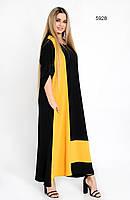 Женское длинное платье черного цвета, размер батал