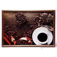 Поднос подушка BST 46*32 коричневый сердце выложенное из кофе