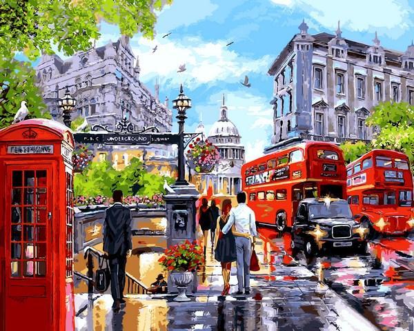 Картина по номерам Babylon VPS1242 Дождливый Лондон 50х65см бебилон картины Городской пейзаж, дома