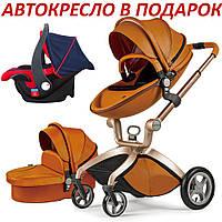 Оригинальная детская коляска 2в1 Hot Mom Коричневая (Рыжая) эко-кожа
