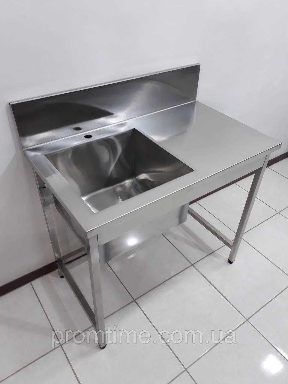 Стол мойка для кухни из нержавеющей стали 1000х600х850