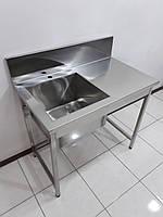 Стол мойка для кухни из нержавеющей стали 1000х600х850, фото 1