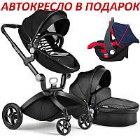 Оригинальная детская коляска 2в1 Hot Mom Черная эко-кожа , фото 1