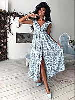Женское Платье с рюшами принт
