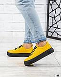 Яркие кроссовки женские кожаные желтые, фото 3