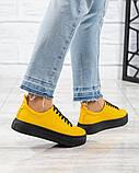 Яркие кроссовки женские кожаные желтые, фото 2