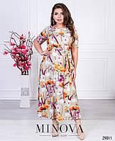Элегантное платье в пол с нежным цветочным принтом (размеры 48, 52), фото 1
