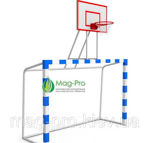 Футбольные ворота 3000х2000мм с баскетбольным щитом(фанера), фото 2