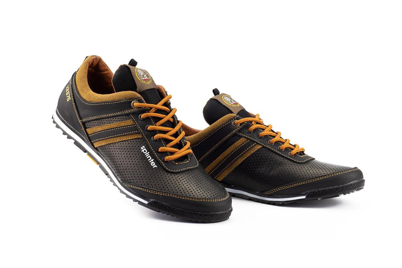 Мужские кроссовки кожаные весна/осень черные-коричневые Splinter V2 5312 перф
