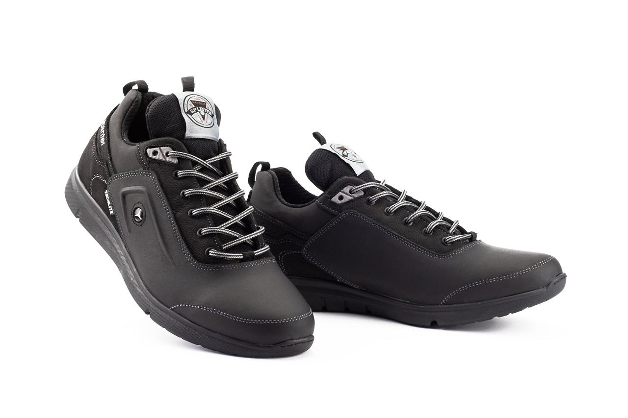 Мужские кроссовки кожаные весна/осень черные Splinter Techlite 1719