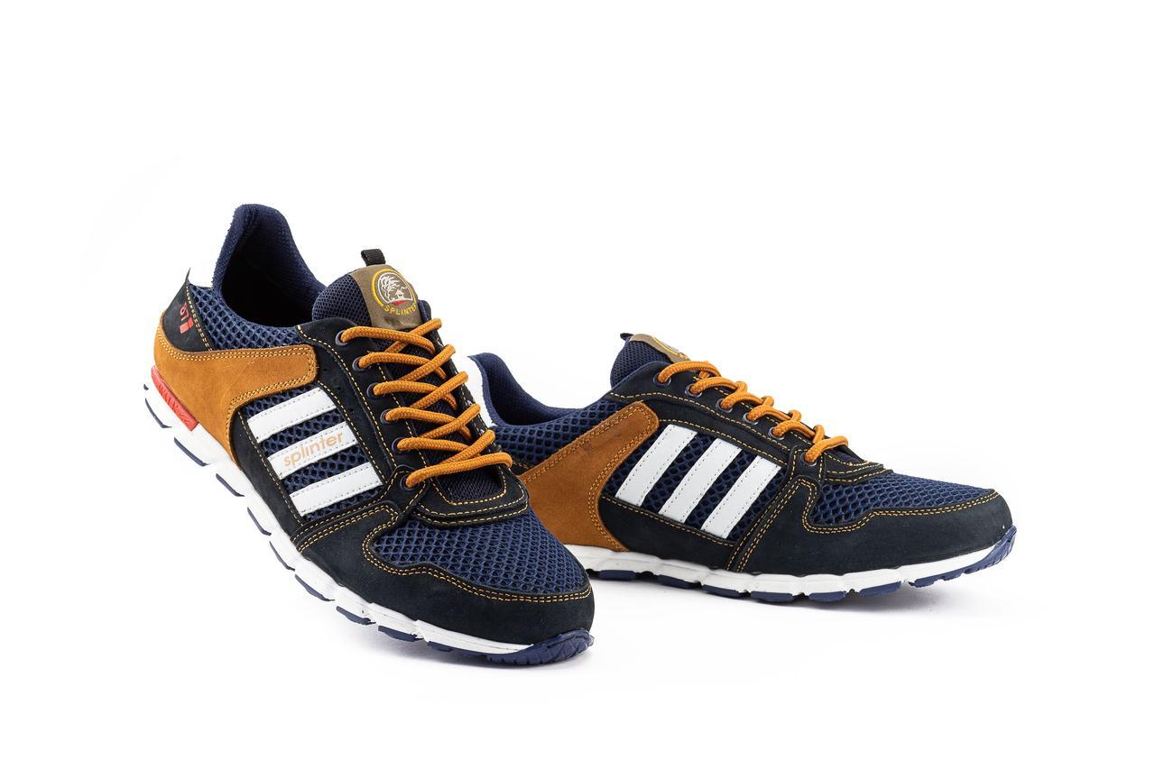 Мужские кроссовки текстильные летние синие-коричневые Splinter 3614