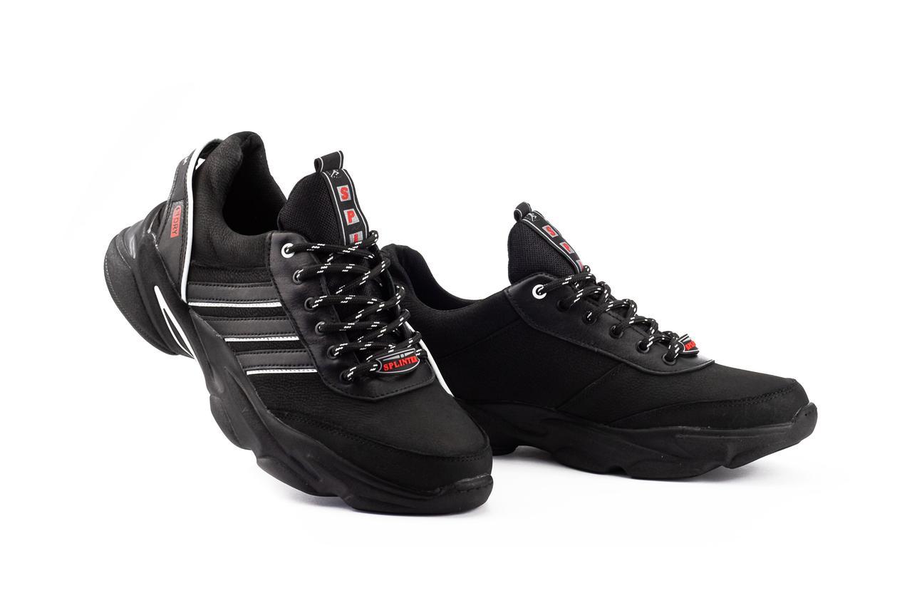 Мужские кроссовки кожаные весна/осень черные Splinter S Dry 1420