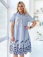 Женское Платье с вышивкой Батал, фото 1