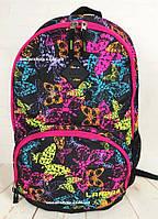 Женская сумка с бабочками. Розовый рюкзак детский. Школьный портфель для девочек. СЛ21-1