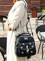 Женская сумка с кисточкой. Детский портфель. Модный кожаный рюкзак. С25