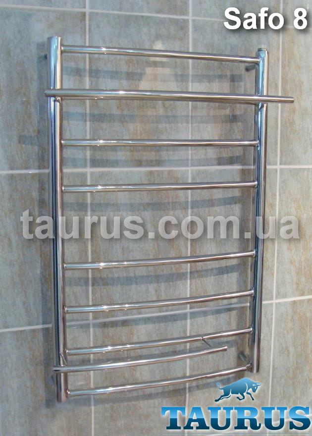 Средний по высоте полотенцесушитель из н/ж стали Safo 8/700х450 с полочками 2шт. d16 мм от ТМ TAURUS в Украине