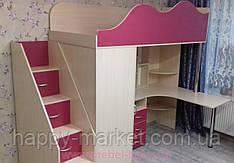 Кровать чердак со шкафом и рабочей зоной КЧШР-2904
