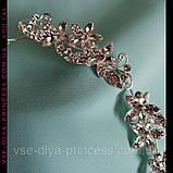 Веточка веночек с цветами в прическу тиара гребень ободок, под серебро, фото 2