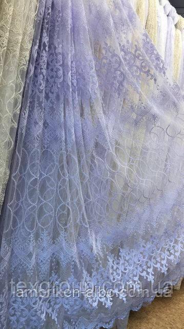 Фатиновая тюль с кордовой вышивкой остаток 2,30м