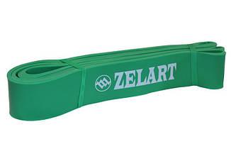 Еспандер стрічковий Zelart 2080х45х4,5 L зелений, гумка для фітнесу
