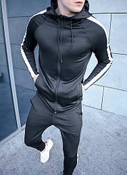 Спортивный костюм мужской с капюшоном черный с лампасами Турция. Живое фото. Чоловічий спортивний костюм