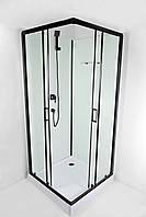 Душова кабіна NIKA 90х90см, чорний профіль, задні стінки