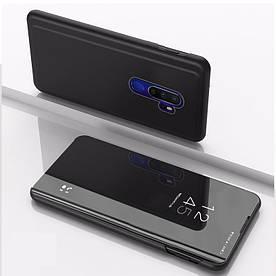 Чехол книжка для Realme X2 Pro боковой с зеркальной крышкой, Черный