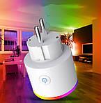 Умная розетка Wi-Fi 16А Wi-smart Plug LED с подсветкой розетка с таймером с голосовым управлением умный дом, фото 5