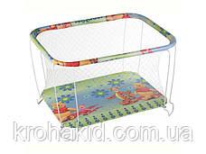 """Детский классический игровой манеж с крупной сеткой KinderBox """"Квадраты с животными"""" - игровой центр для детей, фото 3"""