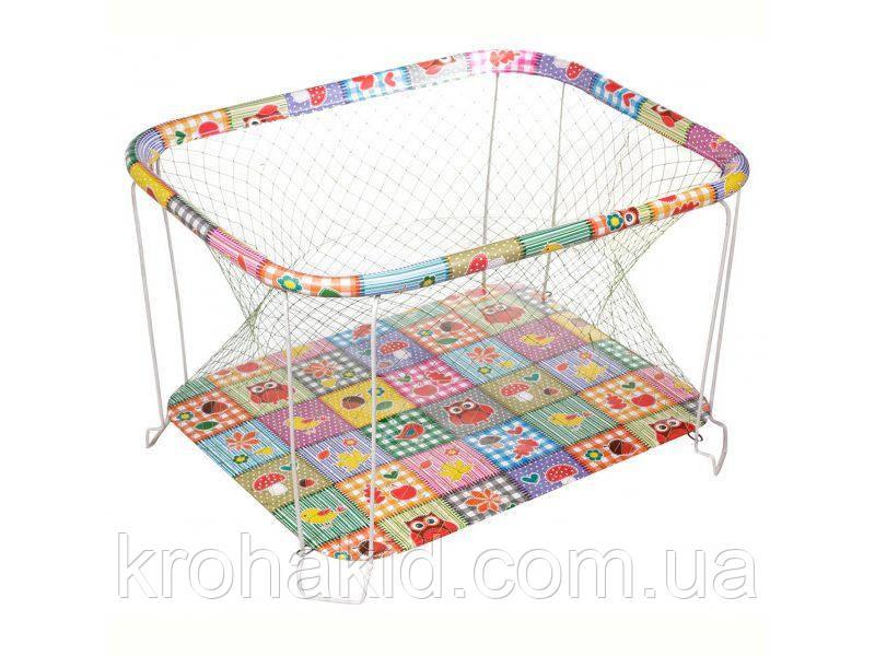 """Детский классический игровой манеж с крупной сеткой KinderBox """"Квадраты с животными"""" - игровой центр для детей"""