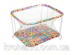 """Детский классический игровой манеж с крупной сеткойKinderBox """"Квадраты с животными"""" - игровой центр для детей"""