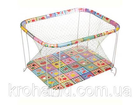 """Детский классический игровой манеж с крупной сеткой KinderBox """"Квадраты с животными"""" - игровой центр для детей, фото 2"""
