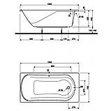 Ванна акрил. КОМФОРТ 150х75 + ніжки SN7/SN14 , фото 2