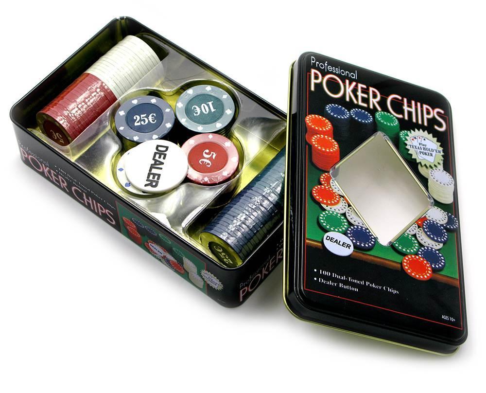 Покерные фишки (100 фишек)(20х12,5х5 см)(вес фишки 4 гр. d-39 мм)