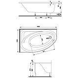 Ванна акрил. СПРІНГ 160х100  ліва  + ніжки SN7/SN14 , фото 2