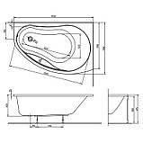 Ванна акрил. ПРОМІС 170х110 права + ніжки SN8/SN14 , фото 2