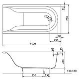Ванна акрил МІРРА 150х75+ніжки SN0/SN14+підголовник, фото 2