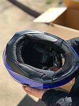 Синий мото шлем модуляр трансформер с дополнительными солнезащитными очками, фото 3