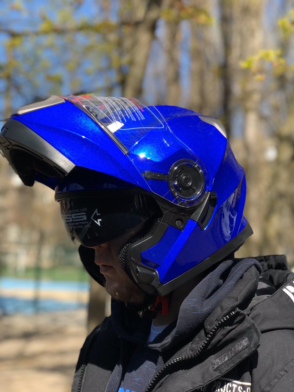 Синий мото шлем модуляр трансформер с дополнительными солнезащитными очками