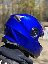 Синий мото шлем модуляр трансформер с дополнительными солнезащитными очками, фото 2