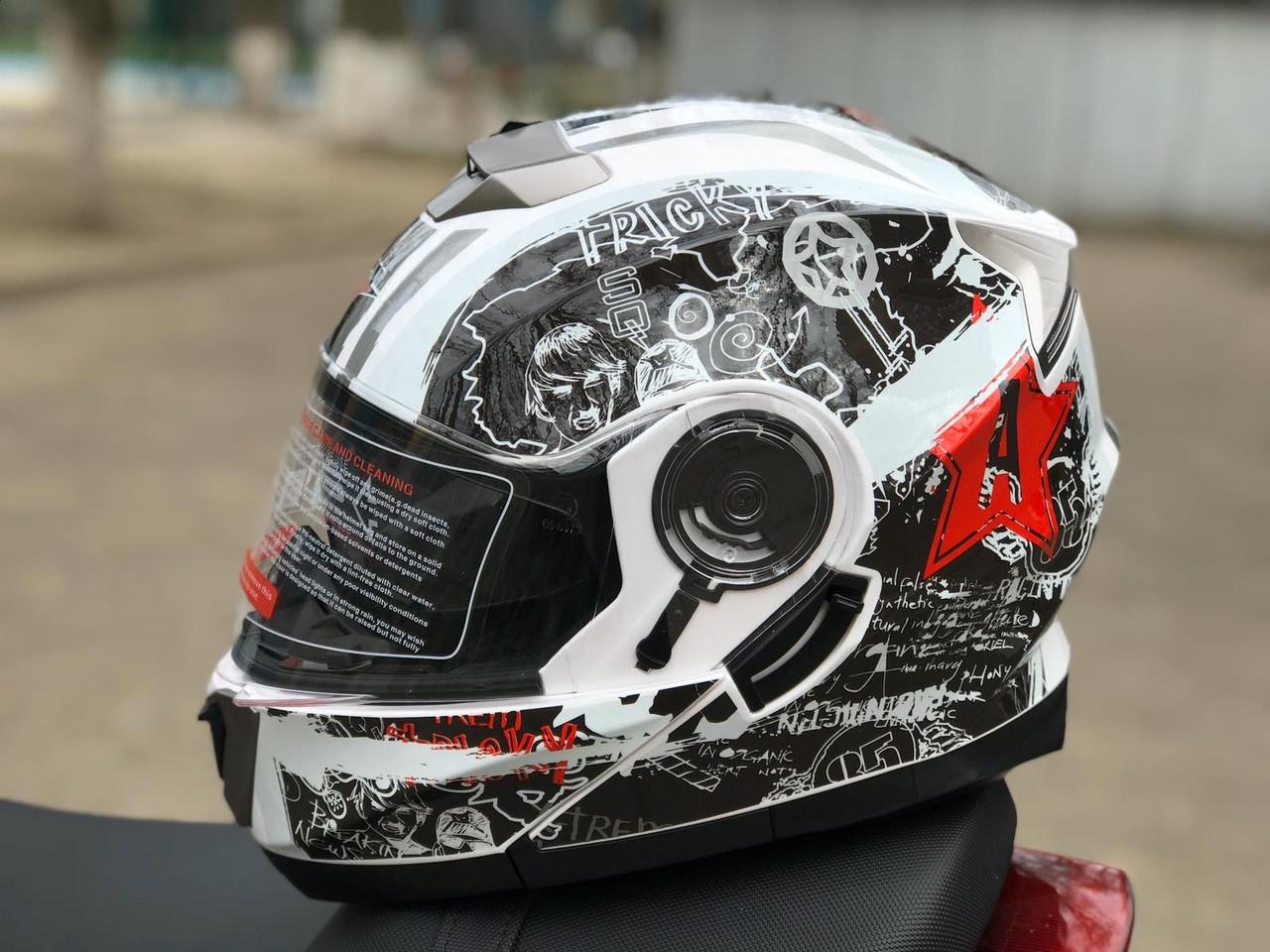 мото шлем модуляр трансформер с дополнительными солнезащитными очками