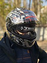 мото шлем модуляр трансформер с дополнительными солнезащитными очками, фото 3