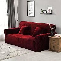 Чехол на диван 230х300 HomyTex универсальный эластичный микрофибра, Бордо