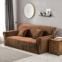 Чехол на диван 230х300 HomyTex универсальный эластичный микрофибра, Песочный