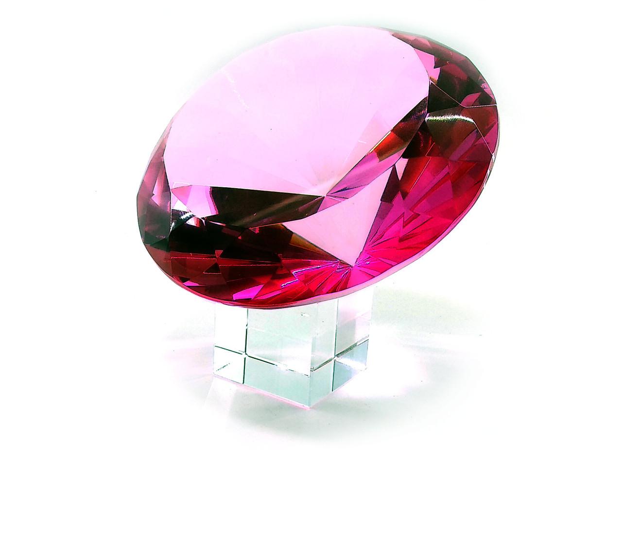 Кристалл хрустальный розовый на подставке (15 см)