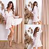 Стильное летнее женское платье из софта с талией на резинке и длинными рукавами(42-48)