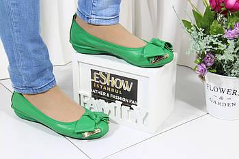 Зеленые кожаные  балетки Polaris 17(0392-9)