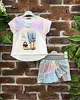 Футболка и юбка-шорты для девочек 5-12 лет Турция Little star